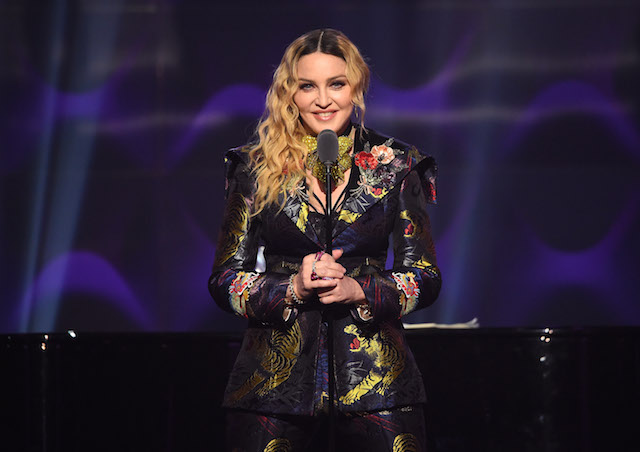 Madonna speaks on stage at the Billboard Women in Music 2016 event on December 9, 2016 in New York City. (Photo by Nicholas Hunt/Getty Images for Billboard Magazine)