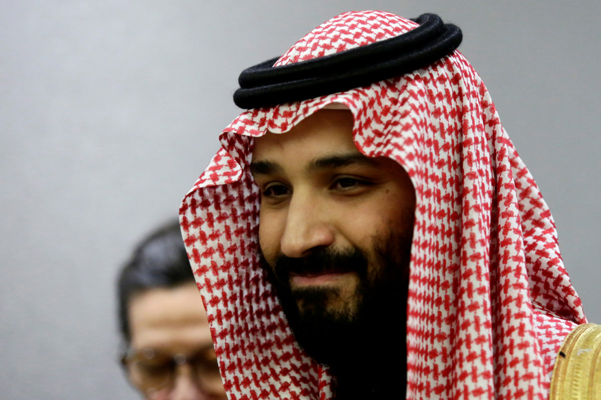 Saudi Arabia's Crown Prince Mohammed bin Salman Al Saud is seen during a meeting with U.N Secretary-General Antonio Guterres at the United Nations headquarters in the Manhattan borough of New York City, March 27, 2018. REUTERS/Amir Levy