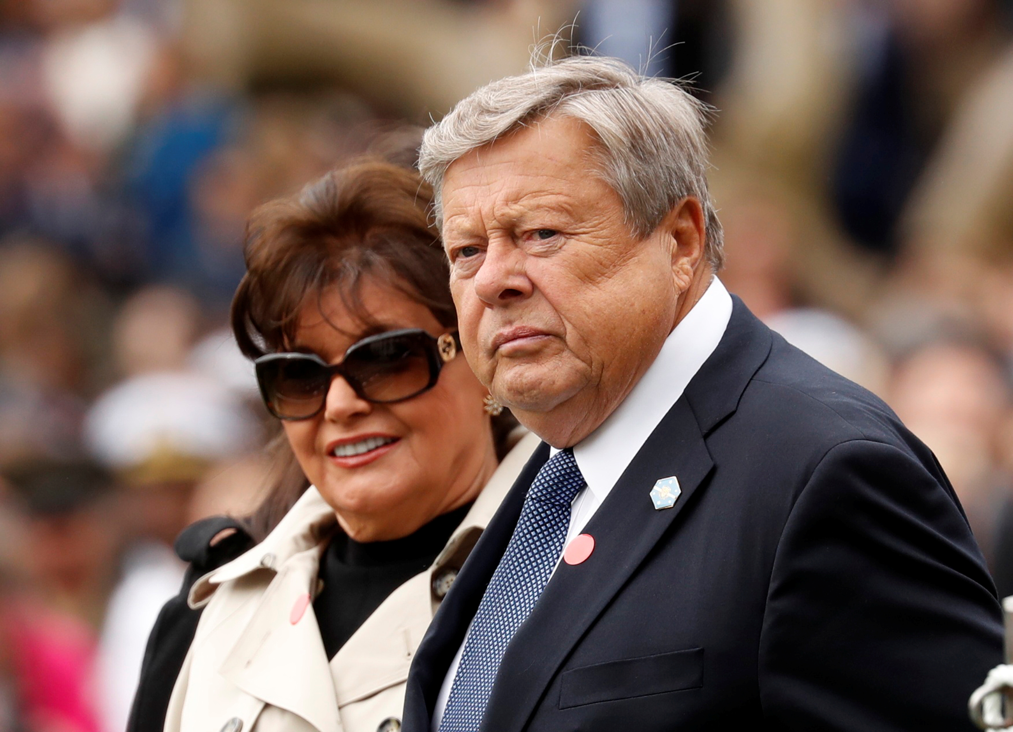 The parents of U.S. first lady Melania Trump, Viktor and Amalija Knavs, await the start of the official arrival ceremony held by U.S. President Donald Trump and Mrs. Trump for French President Emmanuel Macron and his wife Brigitte Macron on the South Lawn of the White House in Washington, U.S., April 24, 2018. REUTERS/Kevin Lamarque