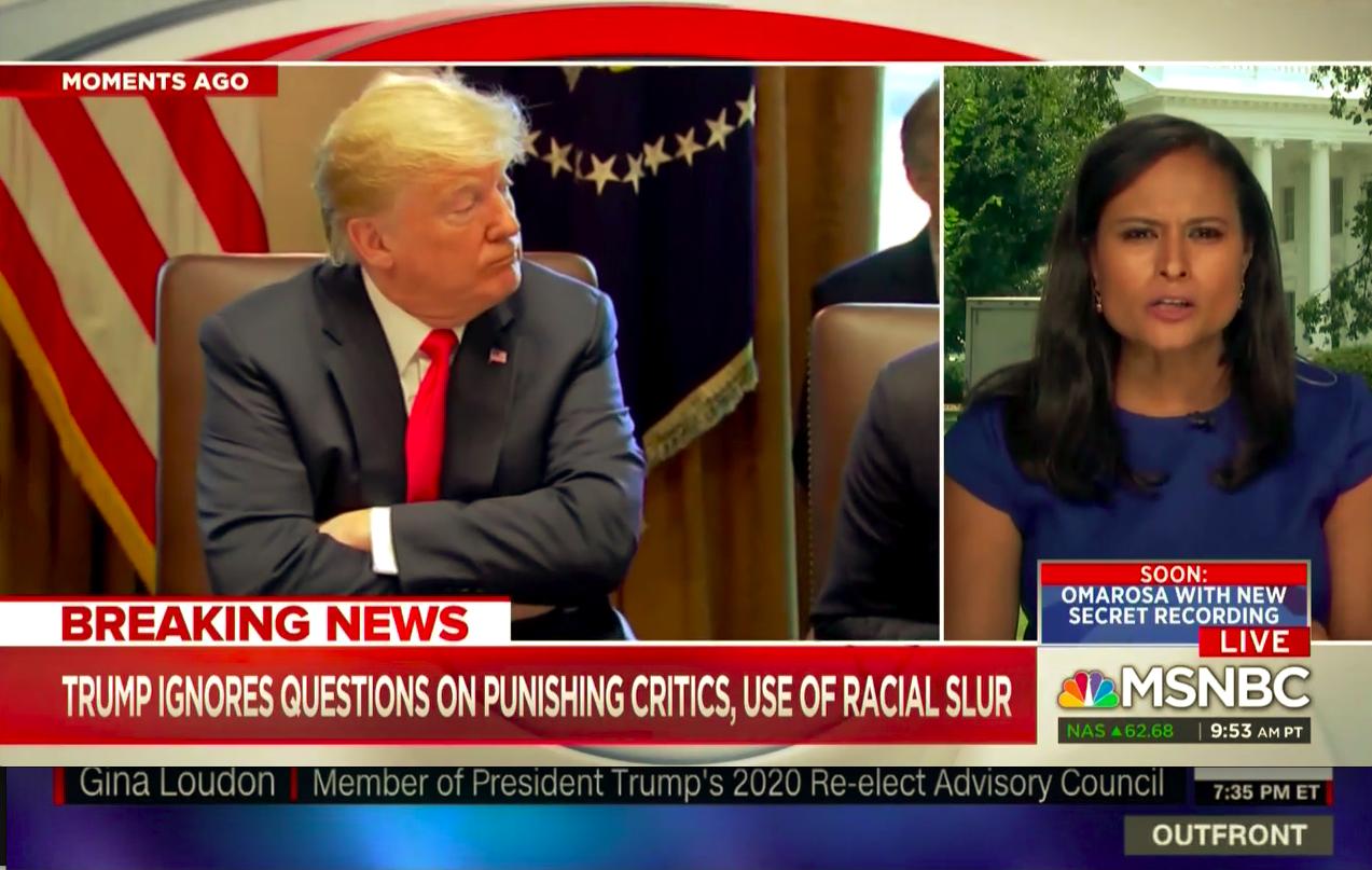 MSNBC runs misleading chyron asserting President Trump used the N-word (PHOTO:Screenshot/MSNBC)