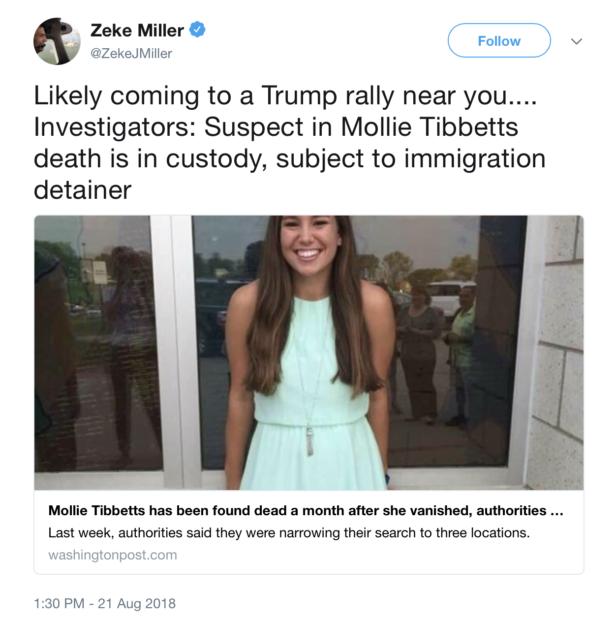 Zeke Miller, AP, twitter screenshot politicizing death of Mollie Tibbetts