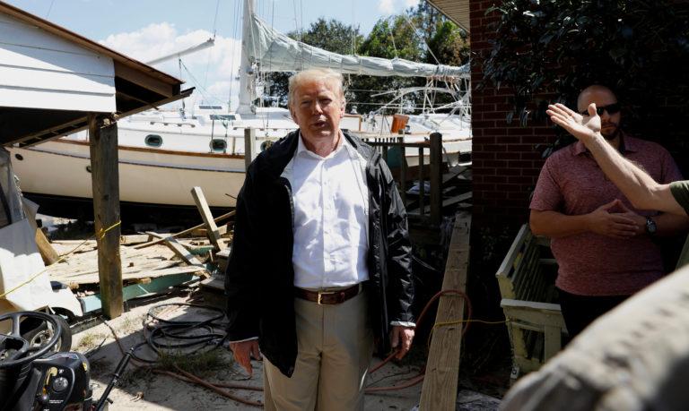 U.S. President Trump visits participates in a tour of Hurricane Florence damage in New Bern, North Carolina