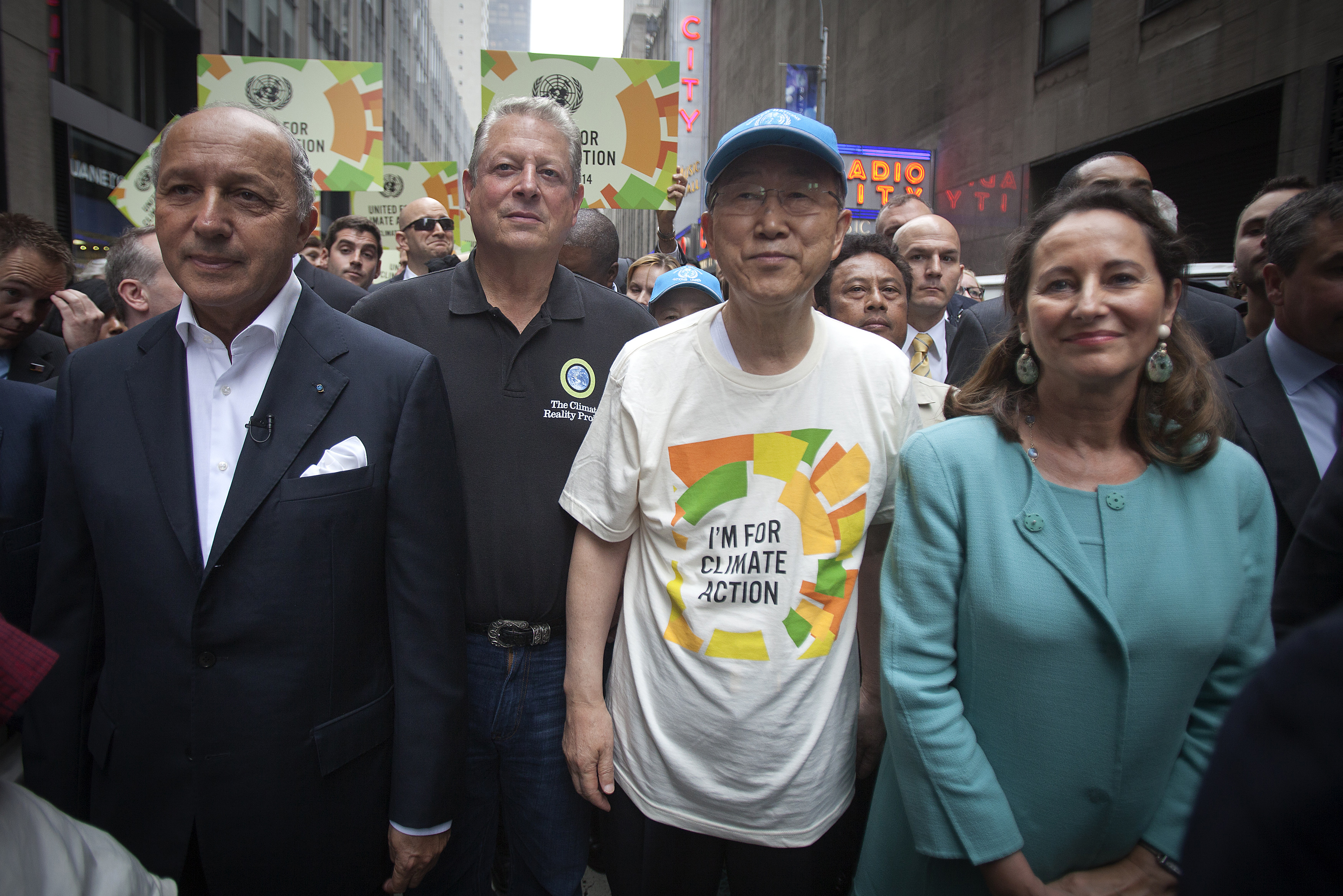 "French Foreign Minister Laurent Fabius, former United States Vice President Al Gore, United Nations Secretary General Ban Ki-moon and French Environment Minister Segolene Royal take part in the ""People's Climate March"" down 6th Ave. in the Man"