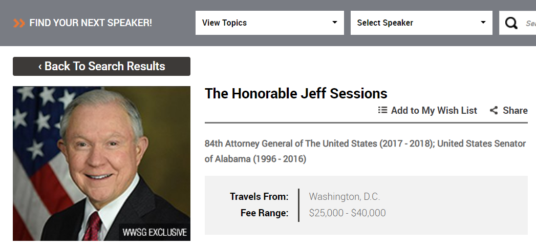 Jeff Sessions Worldwide Speakers Group screenshot